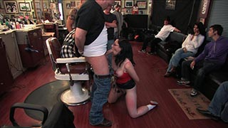 Amateur model gets humiliated and fucked in a barber shop